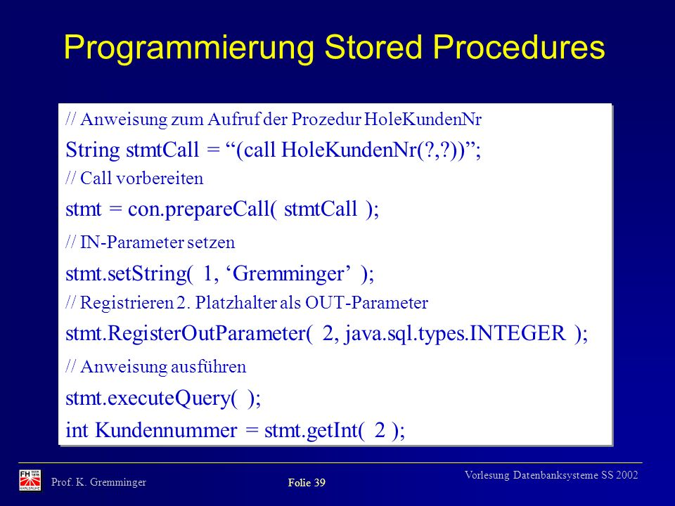 Programmierung Stored Procedures