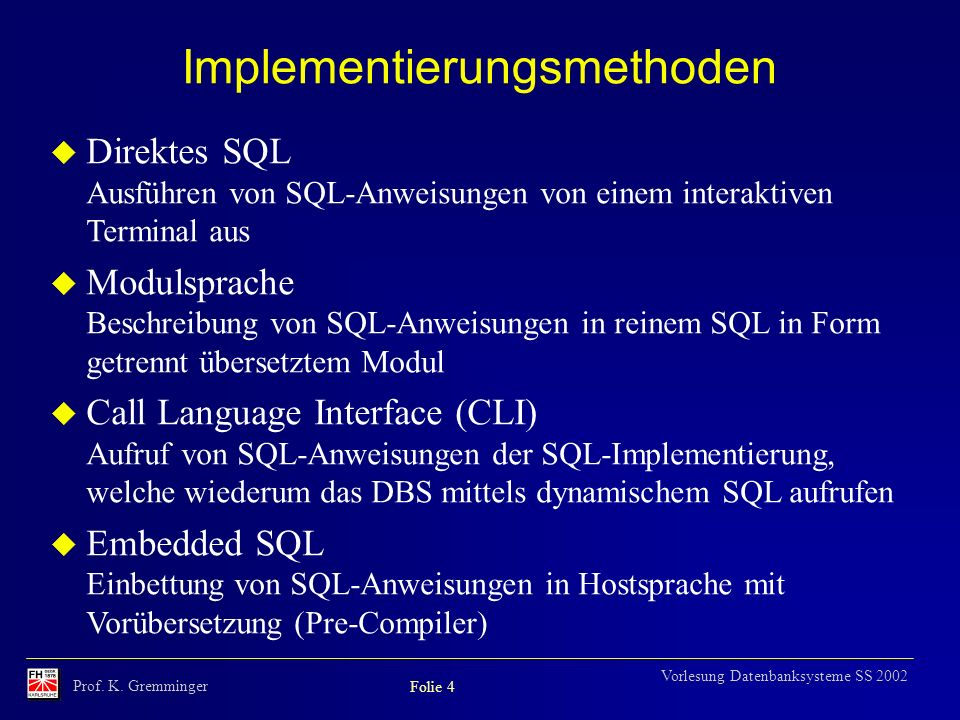 Implementierungsmethoden