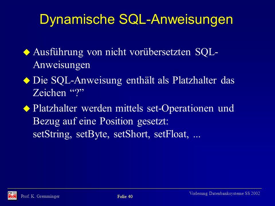Dynamische SQL-Anweisungen
