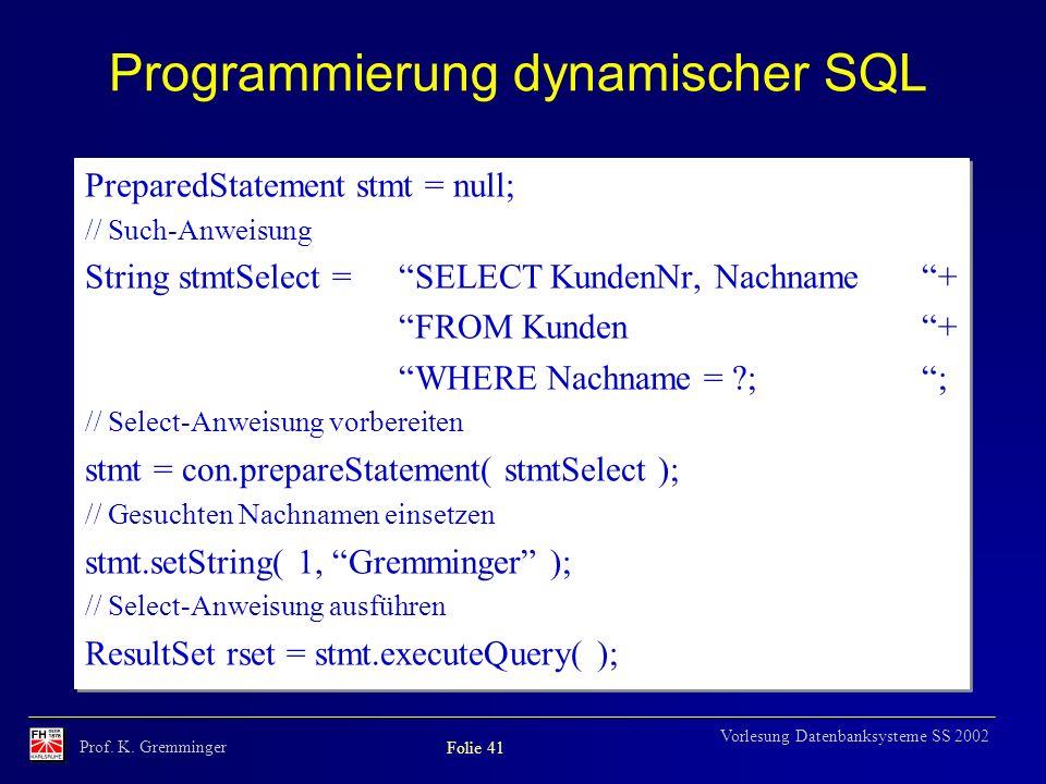 Programmierung dynamischer SQL