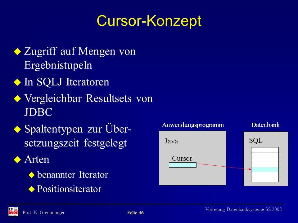 Cursor-Konzept Zugriff auf Mengen von Ergebnistupeln