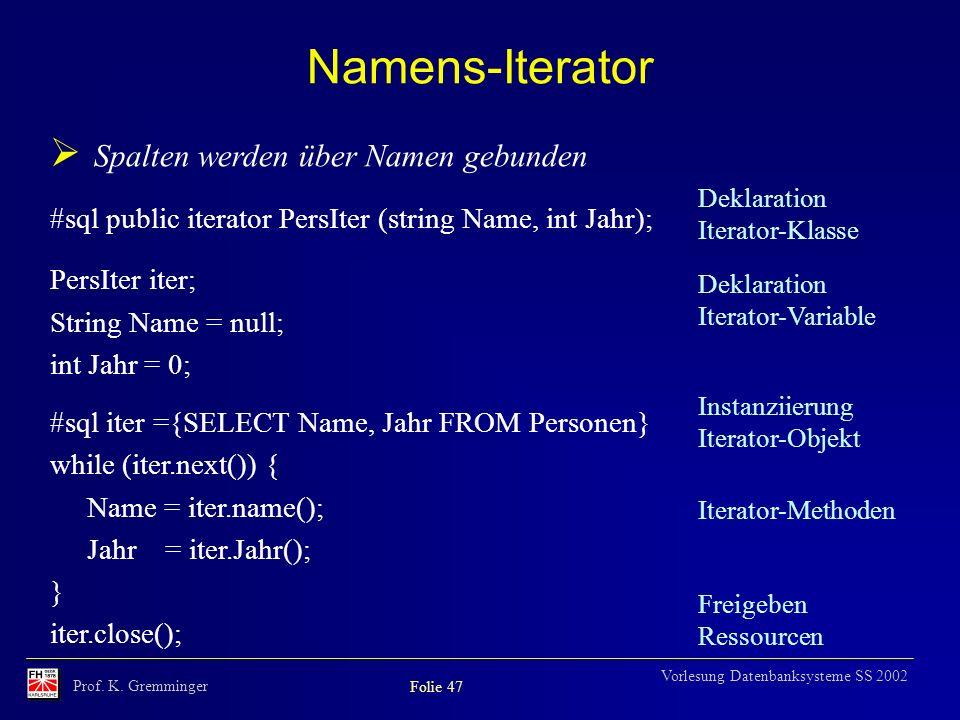 Namens-Iterator Spalten werden über Namen gebunden