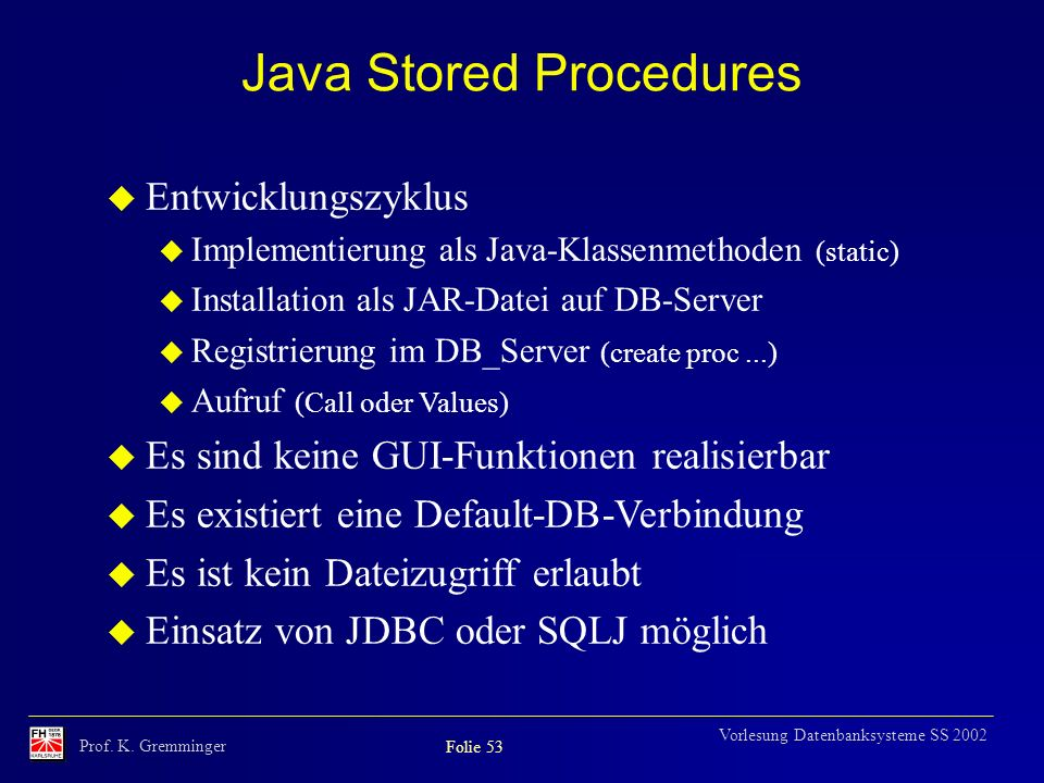 Java Stored Procedures