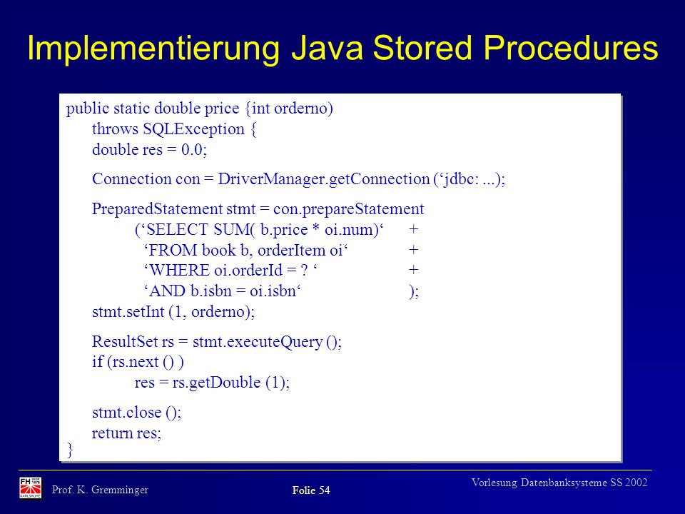 Implementierung Java Stored Procedures
