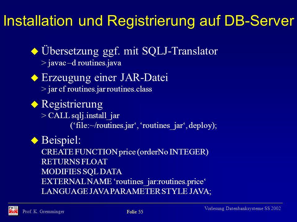 Installation und Registrierung auf DB-Server