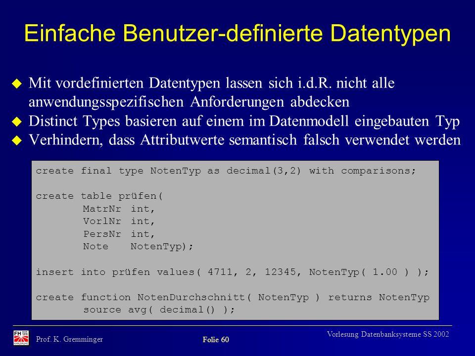 Einfache Benutzer-definierte Datentypen