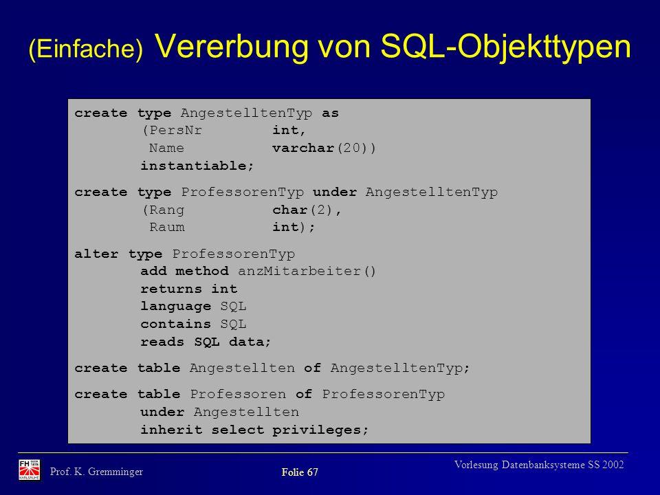 (Einfache) Vererbung von SQL-Objekttypen