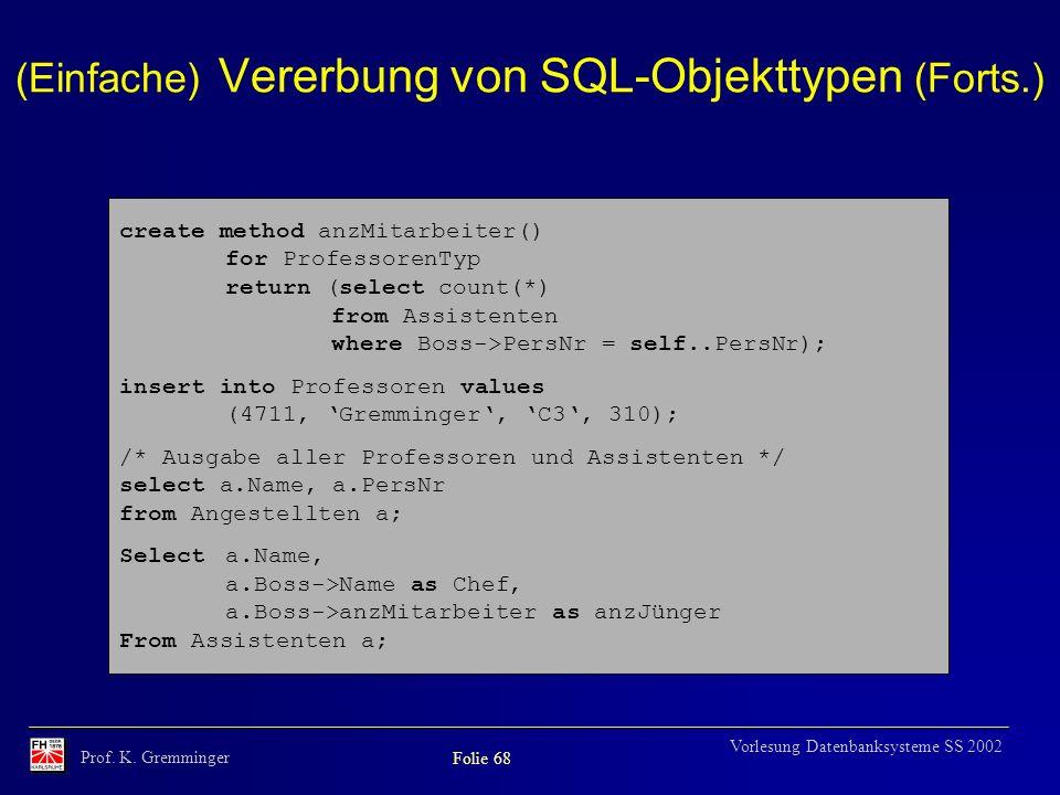 (Einfache) Vererbung von SQL-Objekttypen (Forts.)