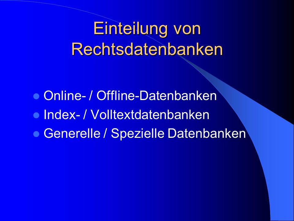 Einteilung von Rechtsdatenbanken