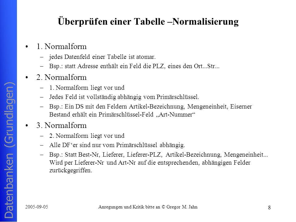 Überprüfen einer Tabelle –Normalisierung