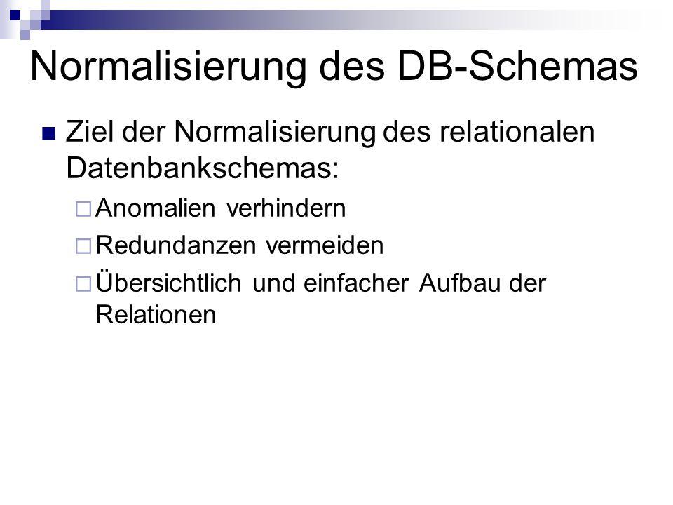 Normalisierung des DB-Schemas