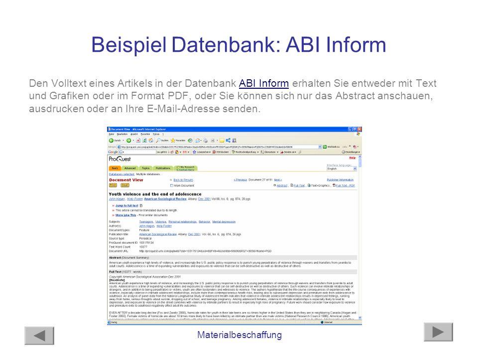 Beispiel Datenbank: ABI Inform