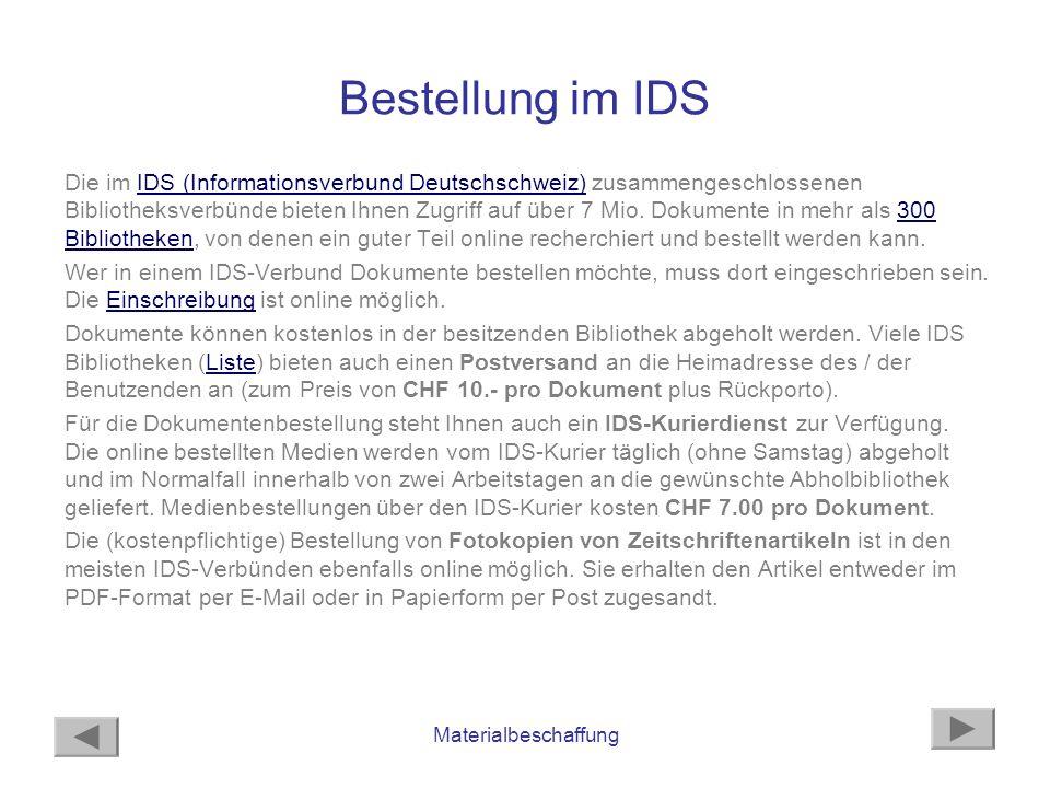 Bestellung im IDS