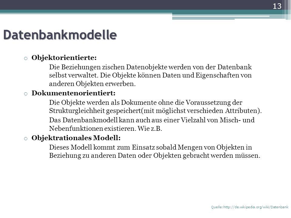 Datenbankmodelle Objektorientierte: