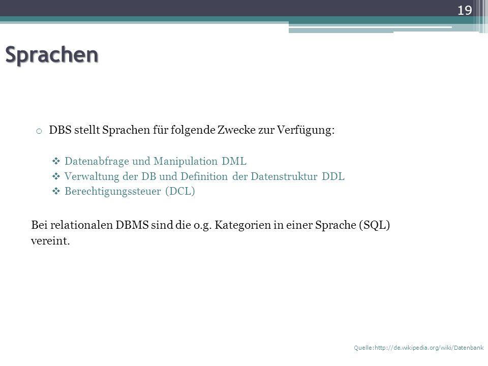 Sprachen DBS stellt Sprachen für folgende Zwecke zur Verfügung: