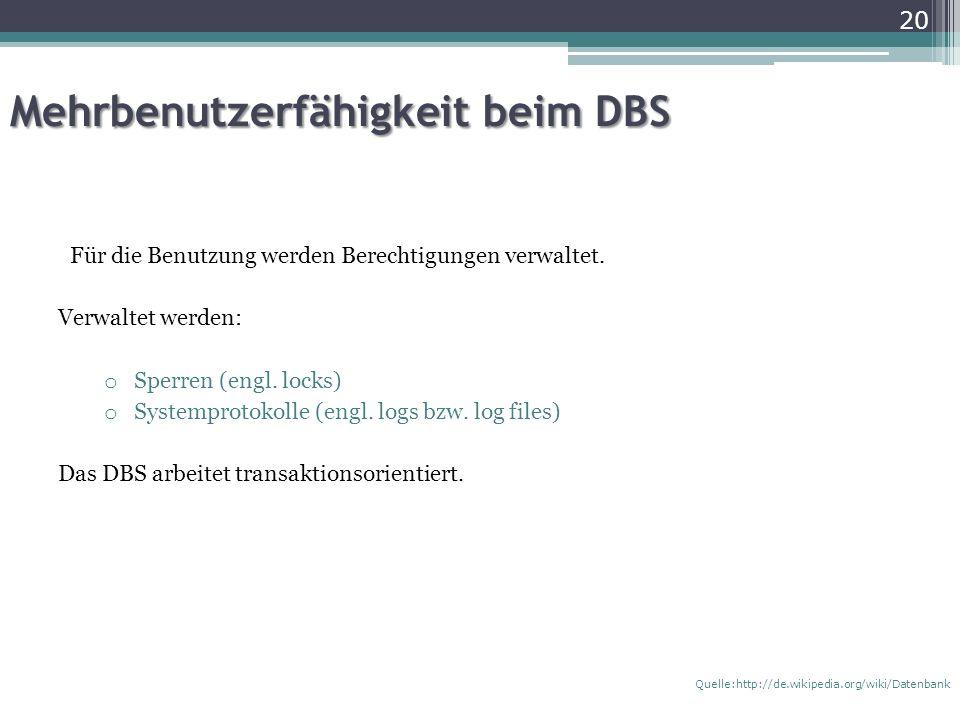 Mehrbenutzerfähigkeit beim DBS