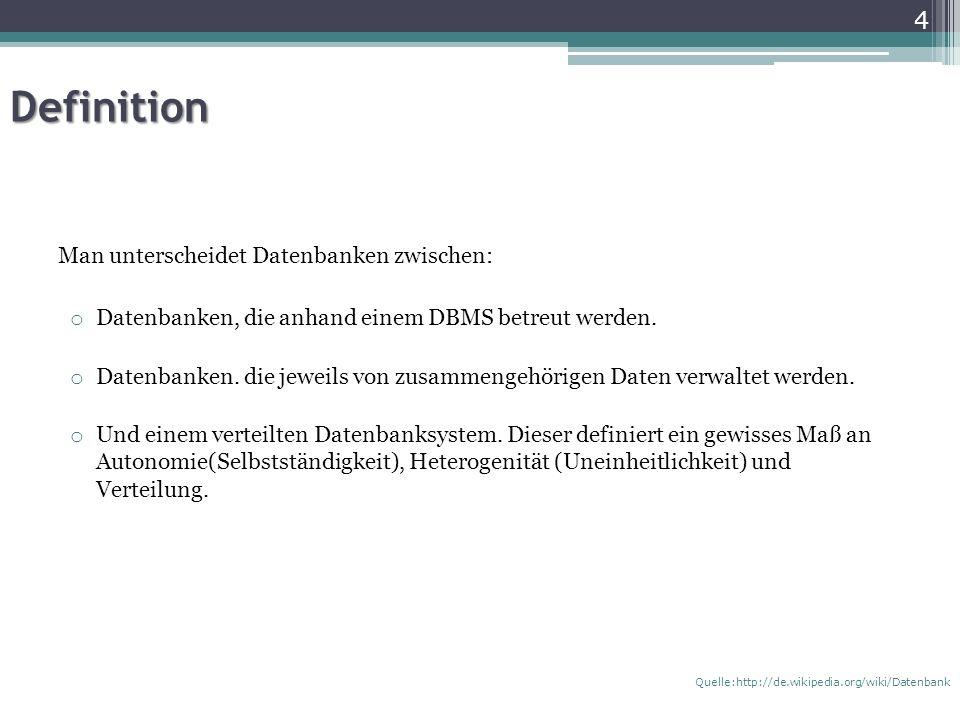 Definition Man unterscheidet Datenbanken zwischen: