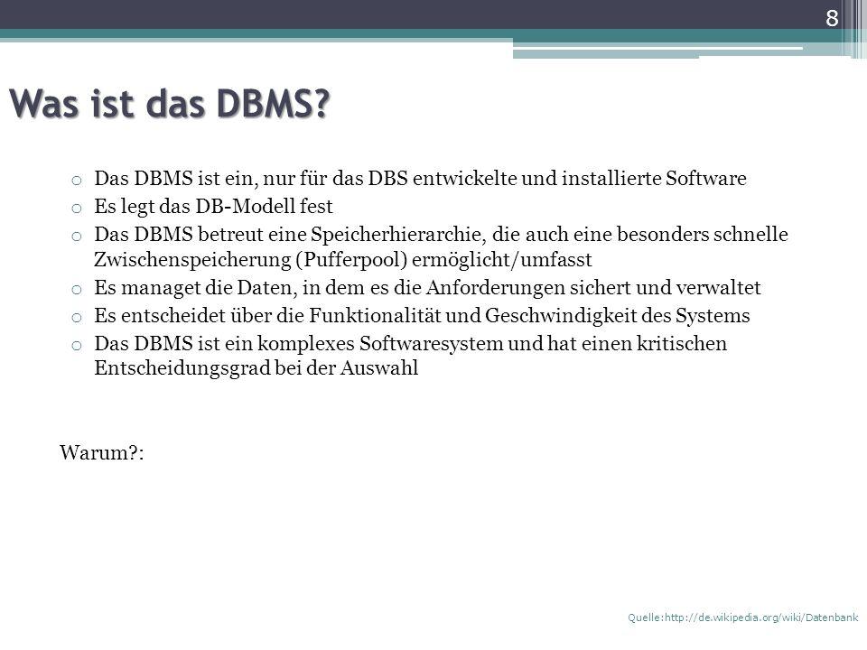 Was ist das DBMS Das DBMS ist ein, nur für das DBS entwickelte und installierte Software. Es legt das DB-Modell fest.