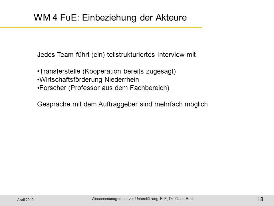 WM 4 FuE: Einbeziehung der Akteure