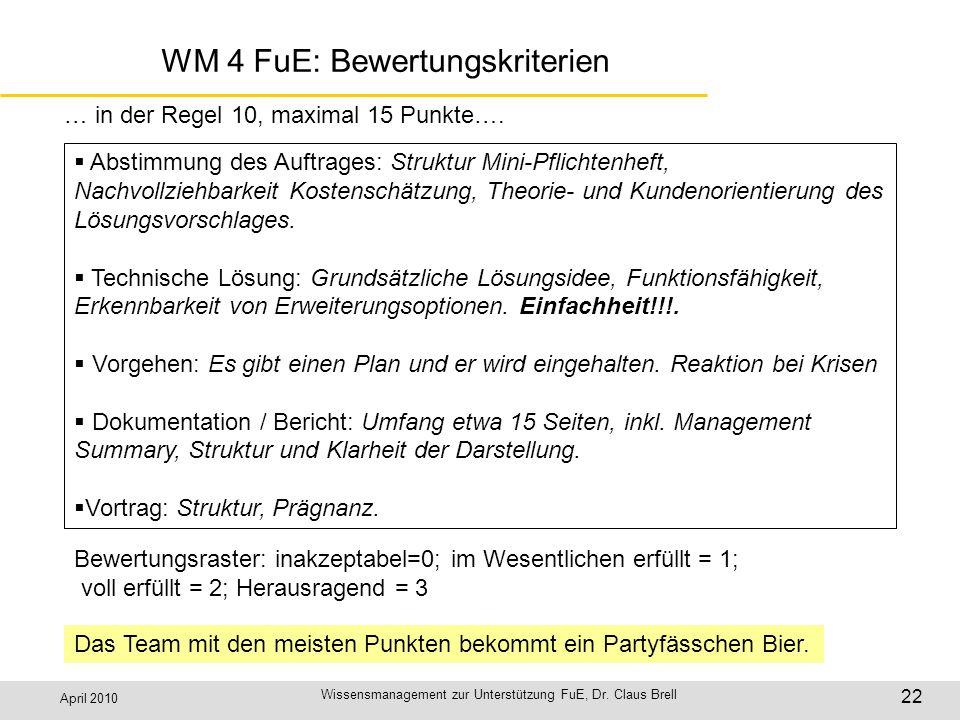 WM 4 FuE: Bewertungskriterien