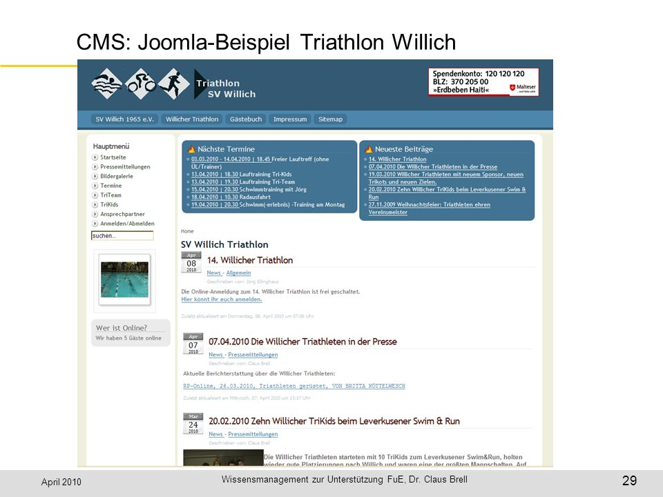CMS: Joomla-Beispiel Triathlon Willich