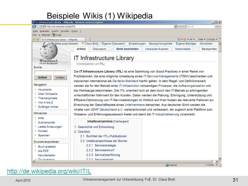 Beispiele Wikis (1) Wikipedia