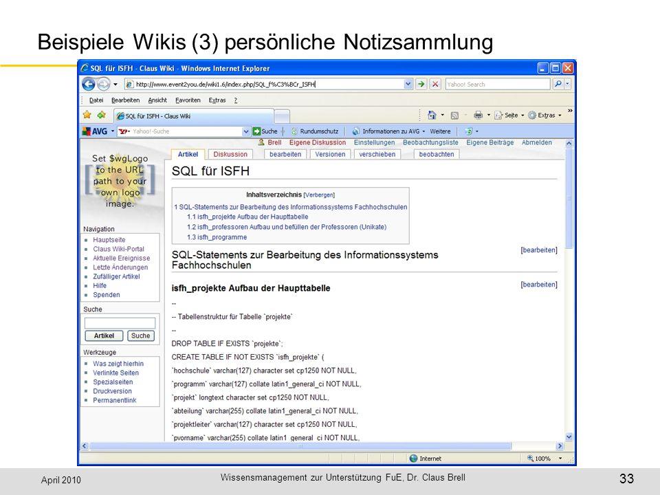 Beispiele Wikis (3) persönliche Notizsammlung