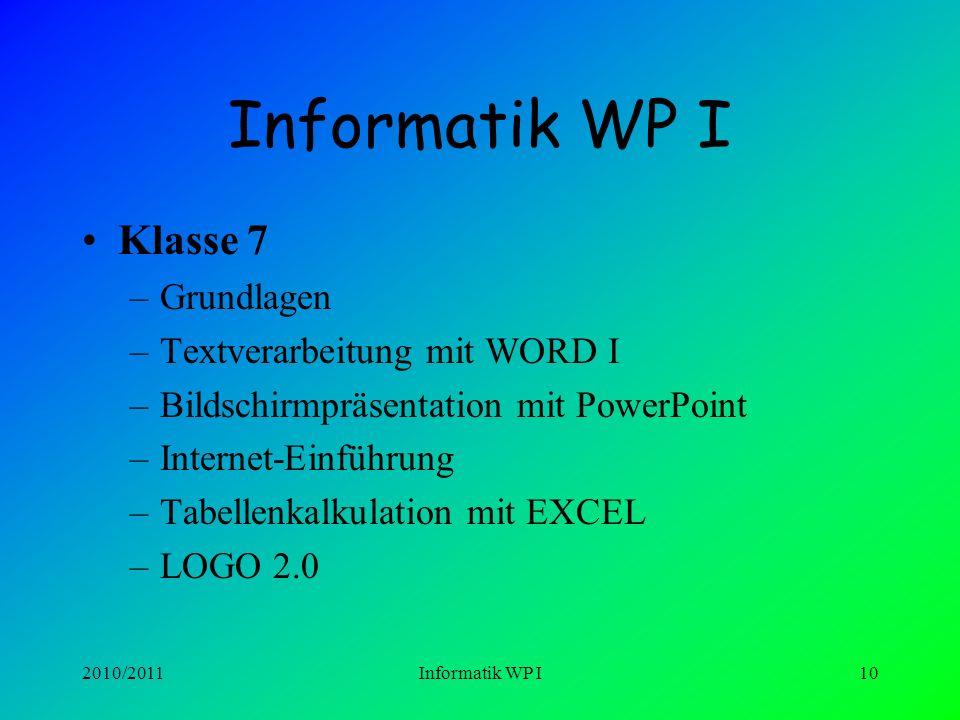 Informatik WP I Klasse 7 Grundlagen Textverarbeitung mit WORD I