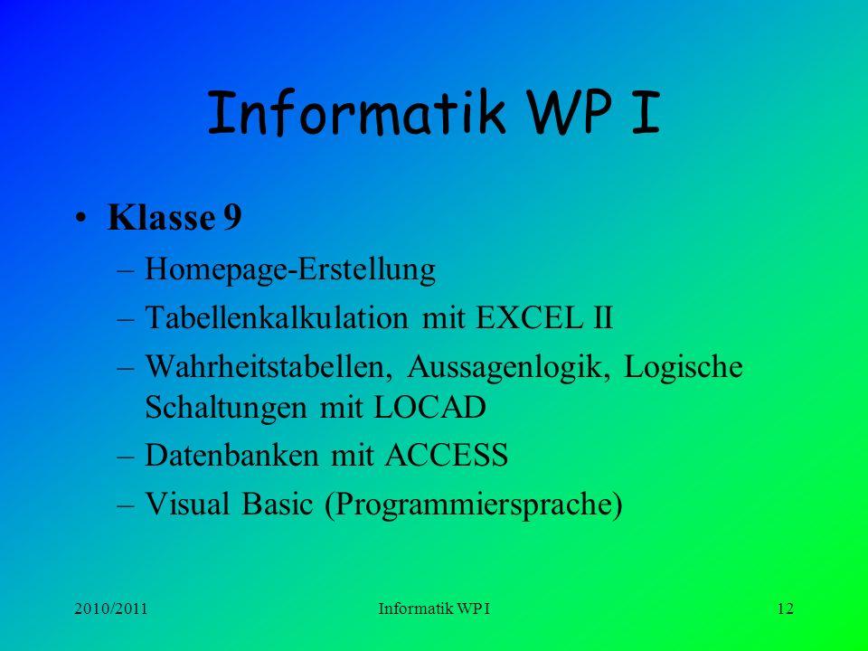 Informatik WP I Klasse 9 Homepage-Erstellung