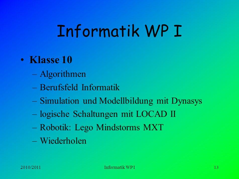 Informatik WP I Klasse 10 Algorithmen Berufsfeld Informatik