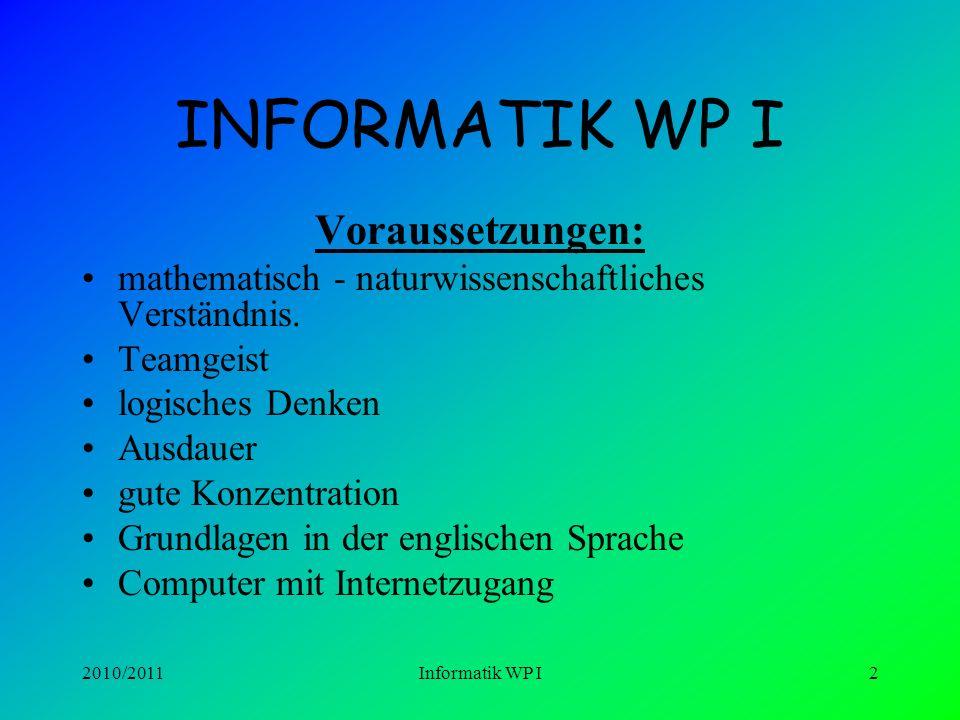 INFORMATIK WP I Voraussetzungen: