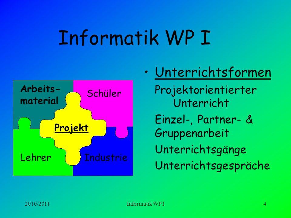 Informatik WP I Unterrichtsformen Einzel-, Partner- & Gruppenarbeit