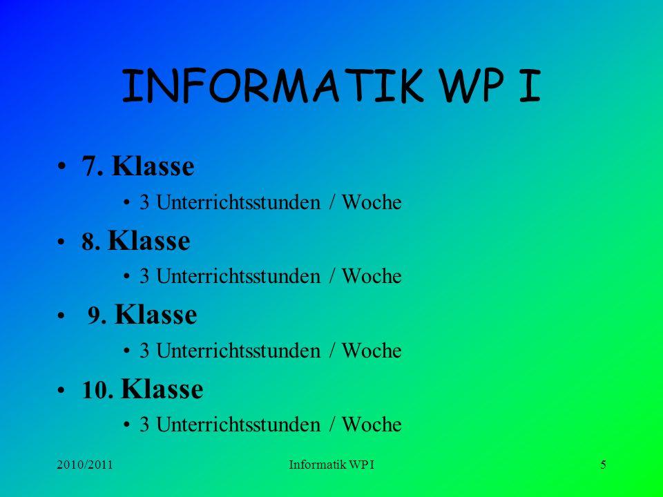 INFORMATIK WP I 7. Klasse 8. Klasse 9. Klasse 10. Klasse