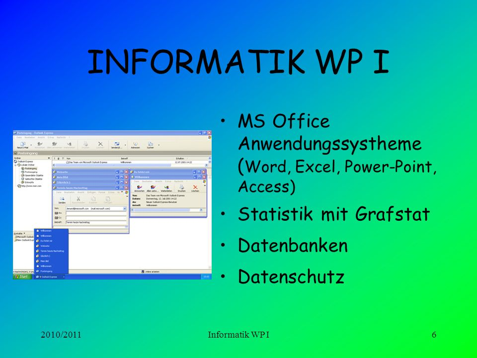 INFORMATIK WP I MS Office Anwendungssystheme (Word, Excel, Power-Point, Access) Statistik mit Grafstat.