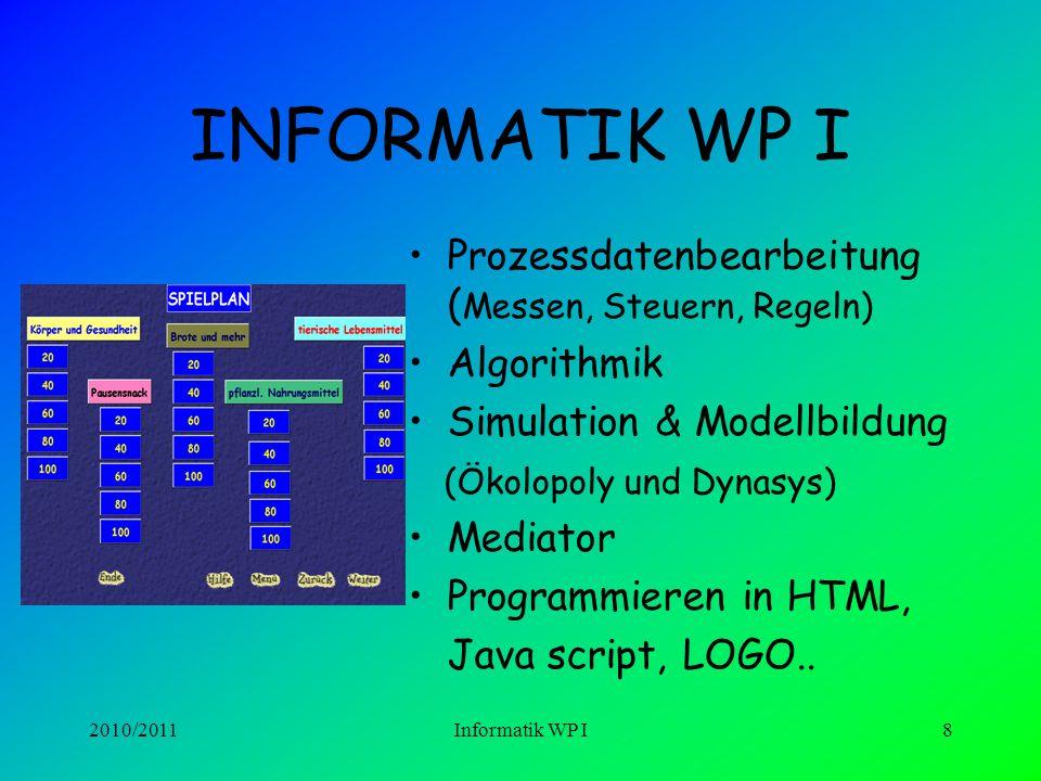 INFORMATIK WP I Prozessdatenbearbeitung (Messen, Steuern, Regeln)