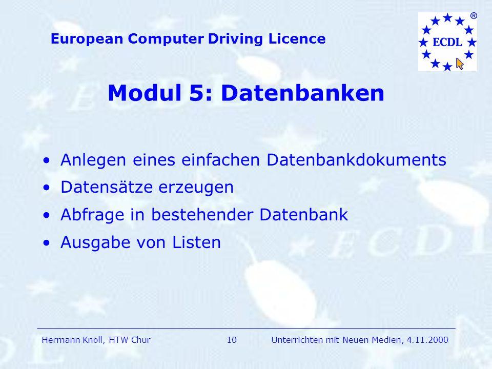 Modul 5: Datenbanken Anlegen eines einfachen Datenbankdokuments