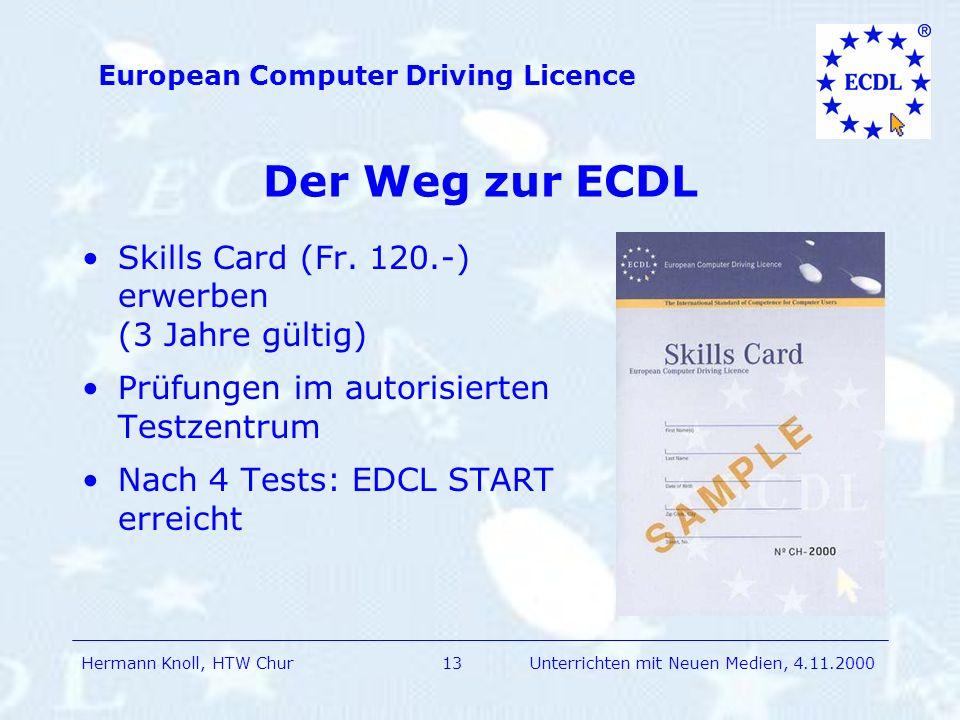 Der Weg zur ECDL Skills Card (Fr. 120.-) erwerben (3 Jahre gültig)