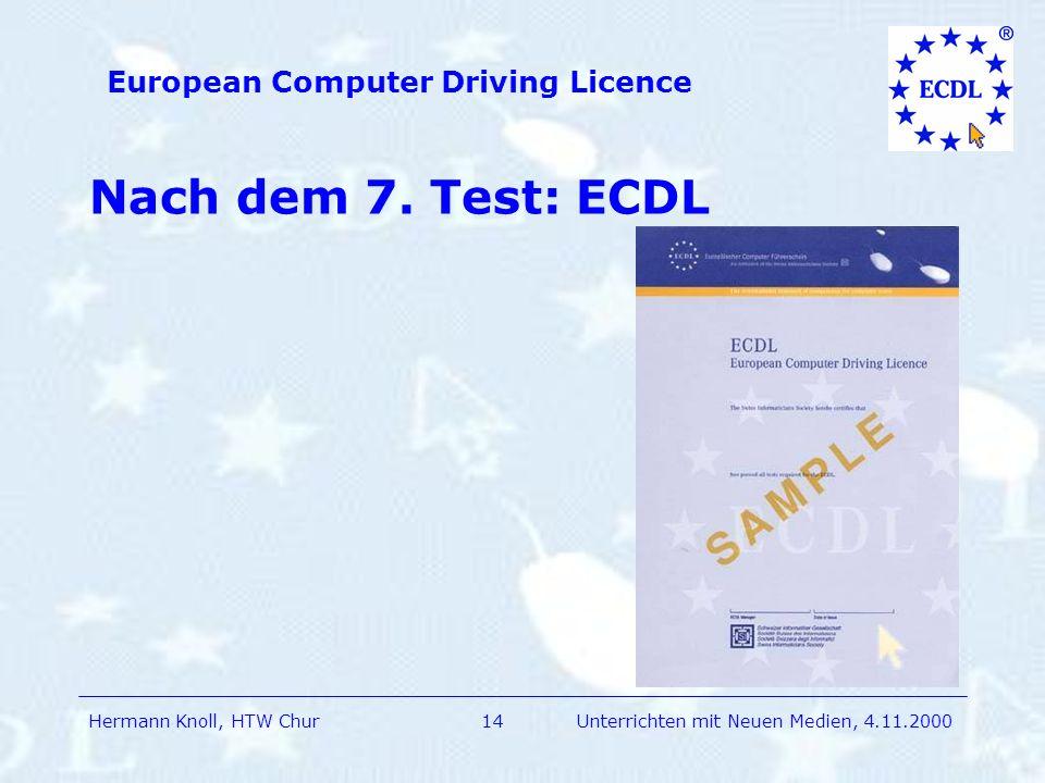 Nach dem 7. Test: ECDL