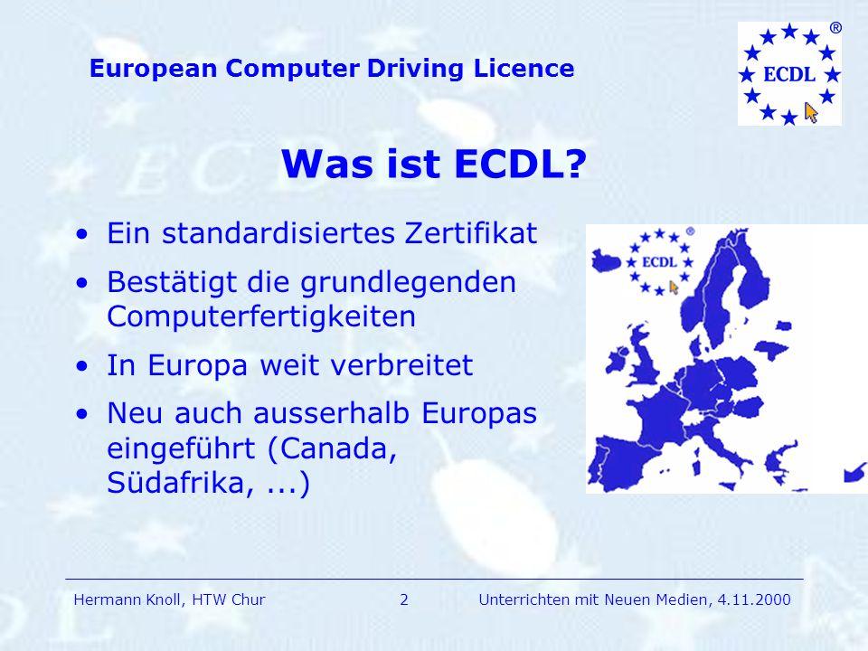 Was ist ECDL Ein standardisiertes Zertifikat