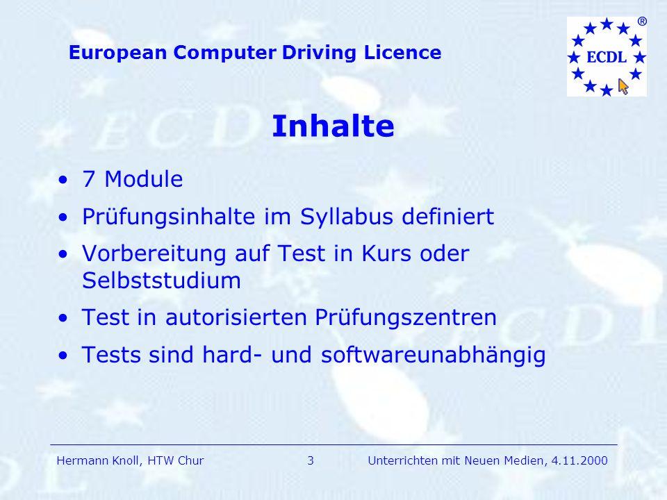 Inhalte 7 Module Prüfungsinhalte im Syllabus definiert