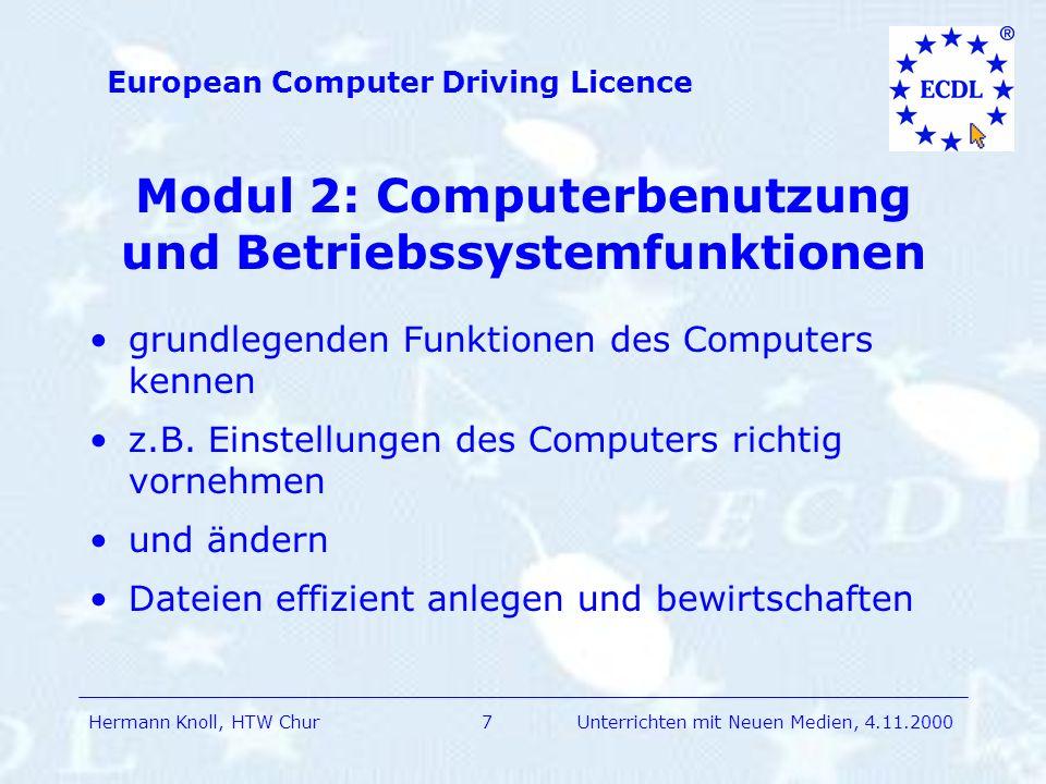 Modul 2: Computerbenutzung und Betriebssystemfunktionen