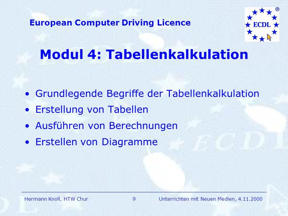 Modul 4: Tabellenkalkulation