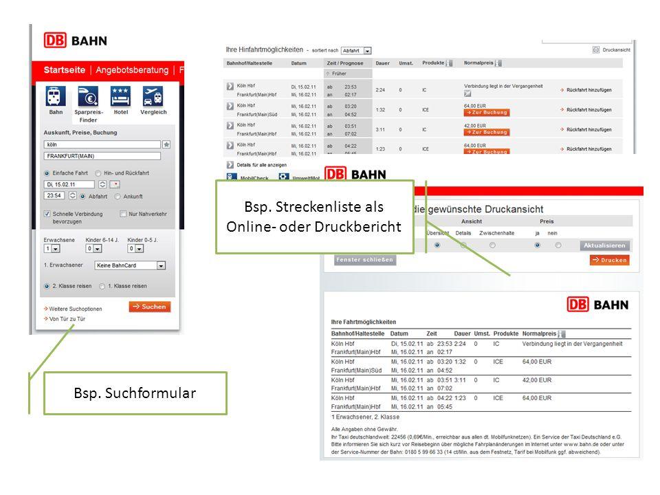 Bsp. Streckenliste als Online- oder Druckbericht