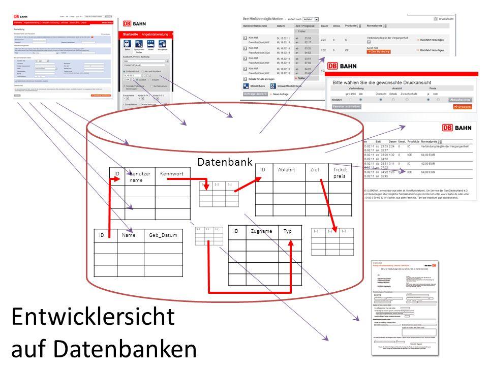 Entwicklersicht auf Datenbanken