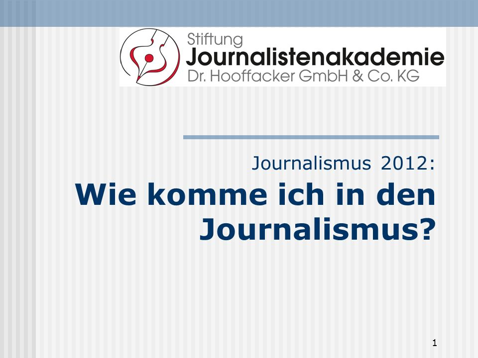 Journalismus 2012: Wie komme ich in den Journalismus