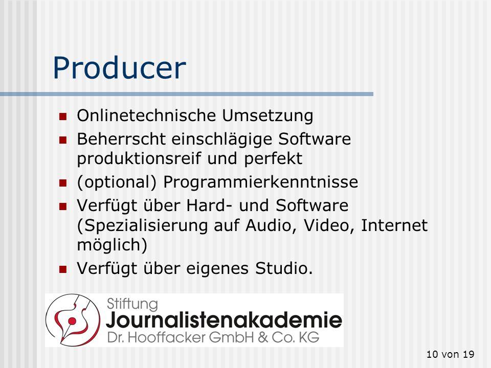 Producer Onlinetechnische Umsetzung