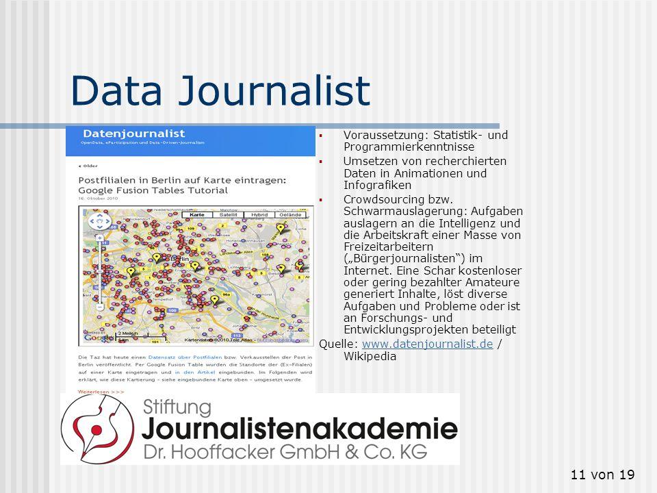 Data Journalist Voraussetzung: Statistik- und Programmierkenntnisse
