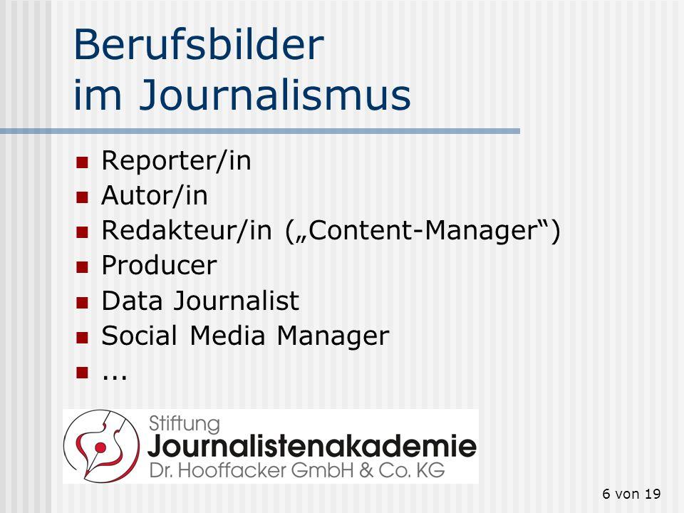 Berufsbilder im Journalismus