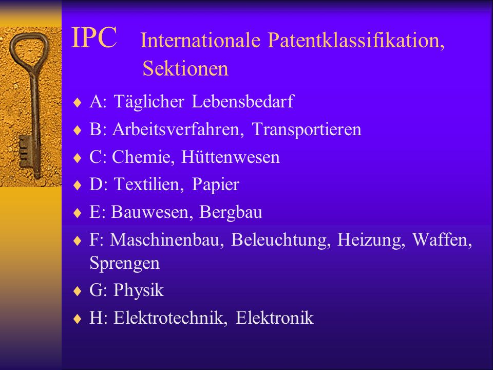 IPC Internationale Patentklassifikation, Sektionen