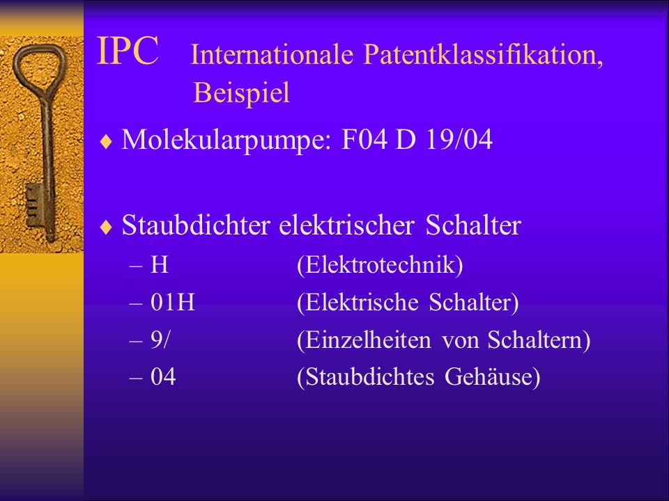 IPC Internationale Patentklassifikation, Beispiel